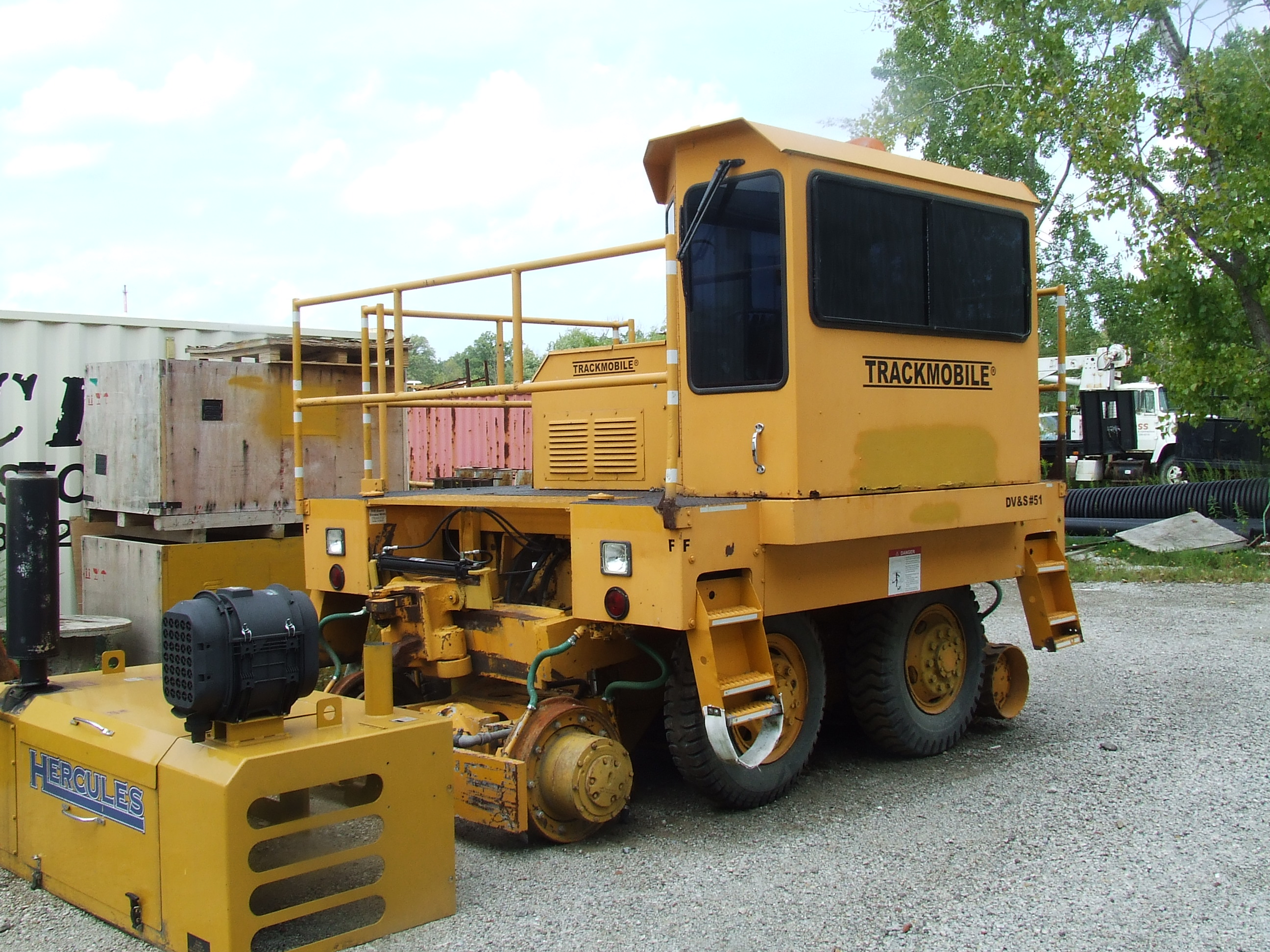 side view of 1980 9TM Trackmobile Railcar Mover